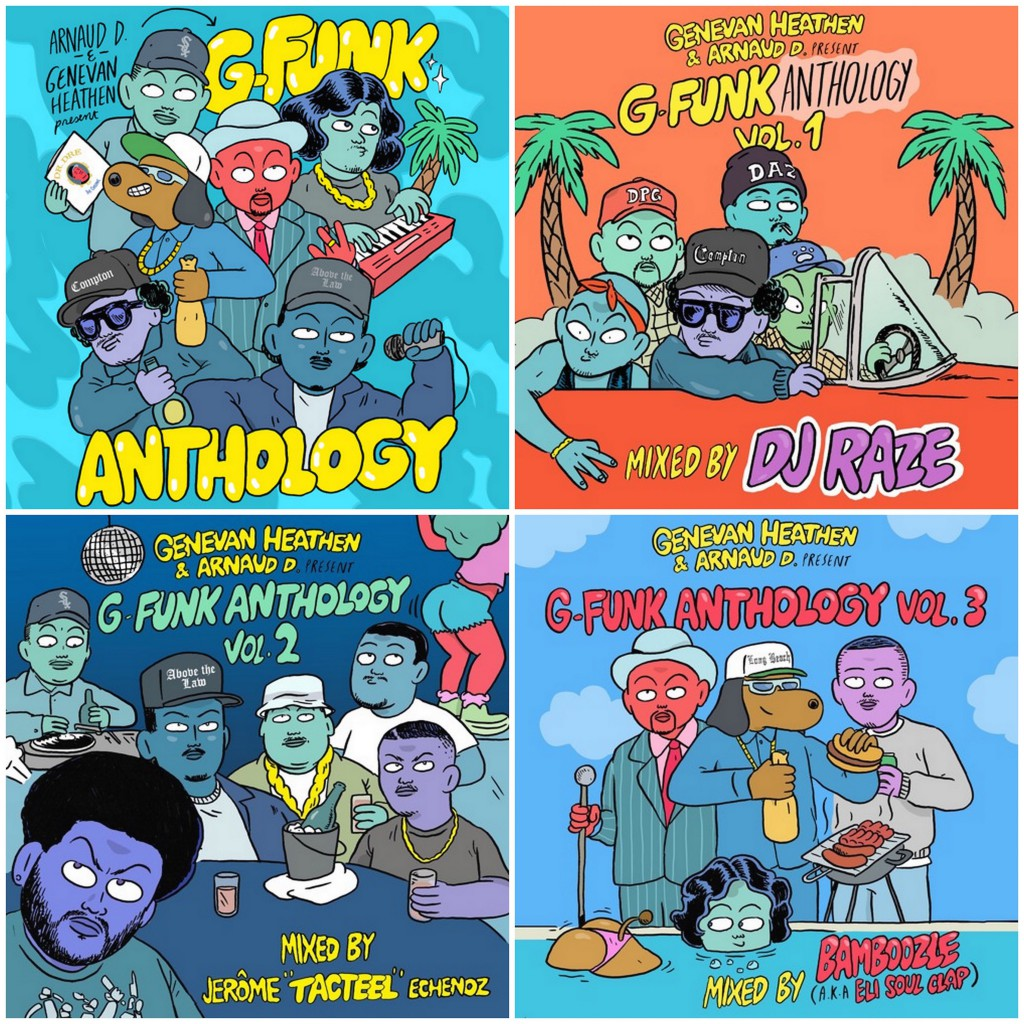 The Genevan Heathen presents G-Funk Anthology 10-volume free download mixtape series Vol. 1-3 DJ Raze Jerome Tacteel Echenoz Bamboozle Eli of Soul Clap